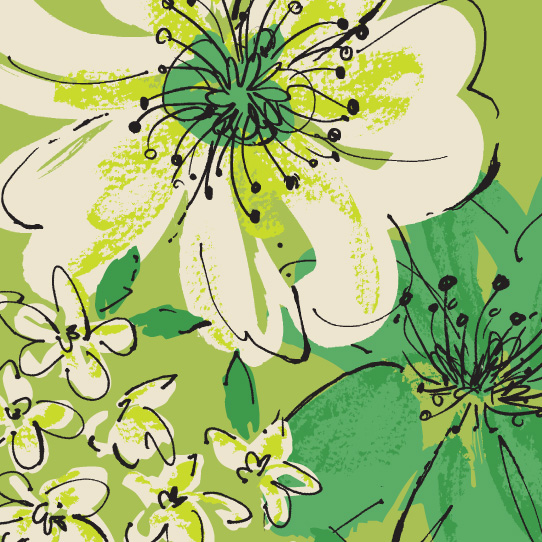 Room Creative Floral Retro Green Detail