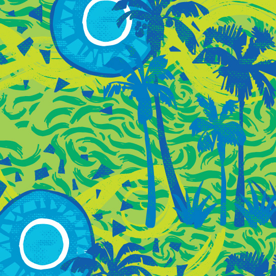 Room Creative Summer Collaged Palms Detail