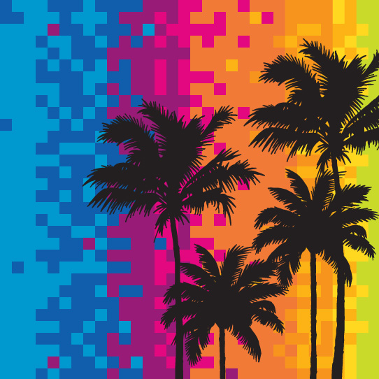 Room Creative Summer Pixel Palms Detail